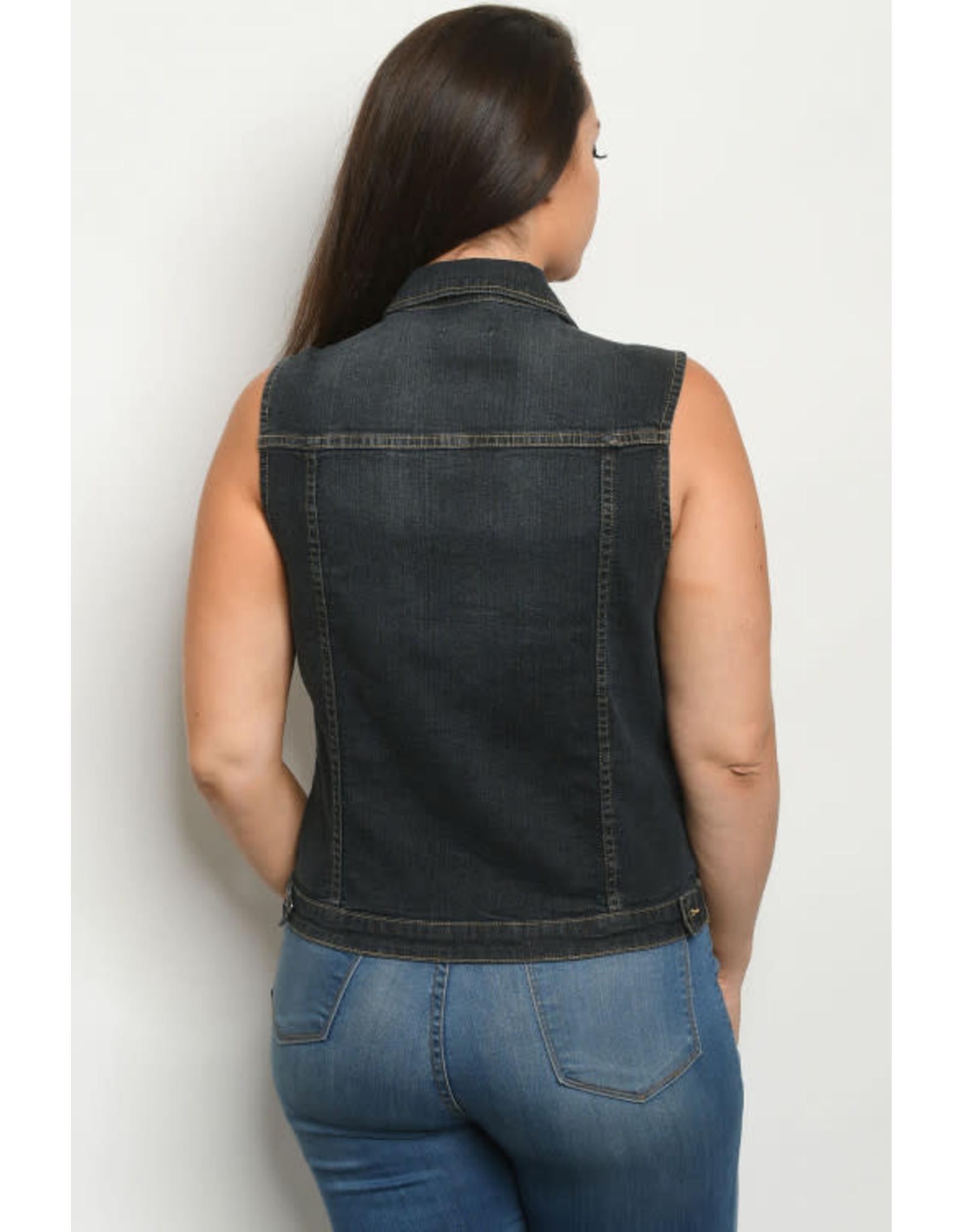 Dark Denim Wash Plus Vest