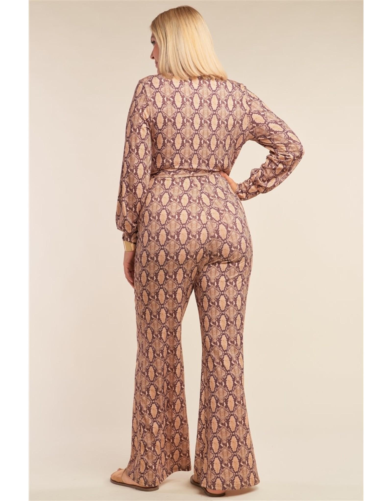 Python Print Long Sleeve Wrap V-Neck Flare Leg Jumpsuit