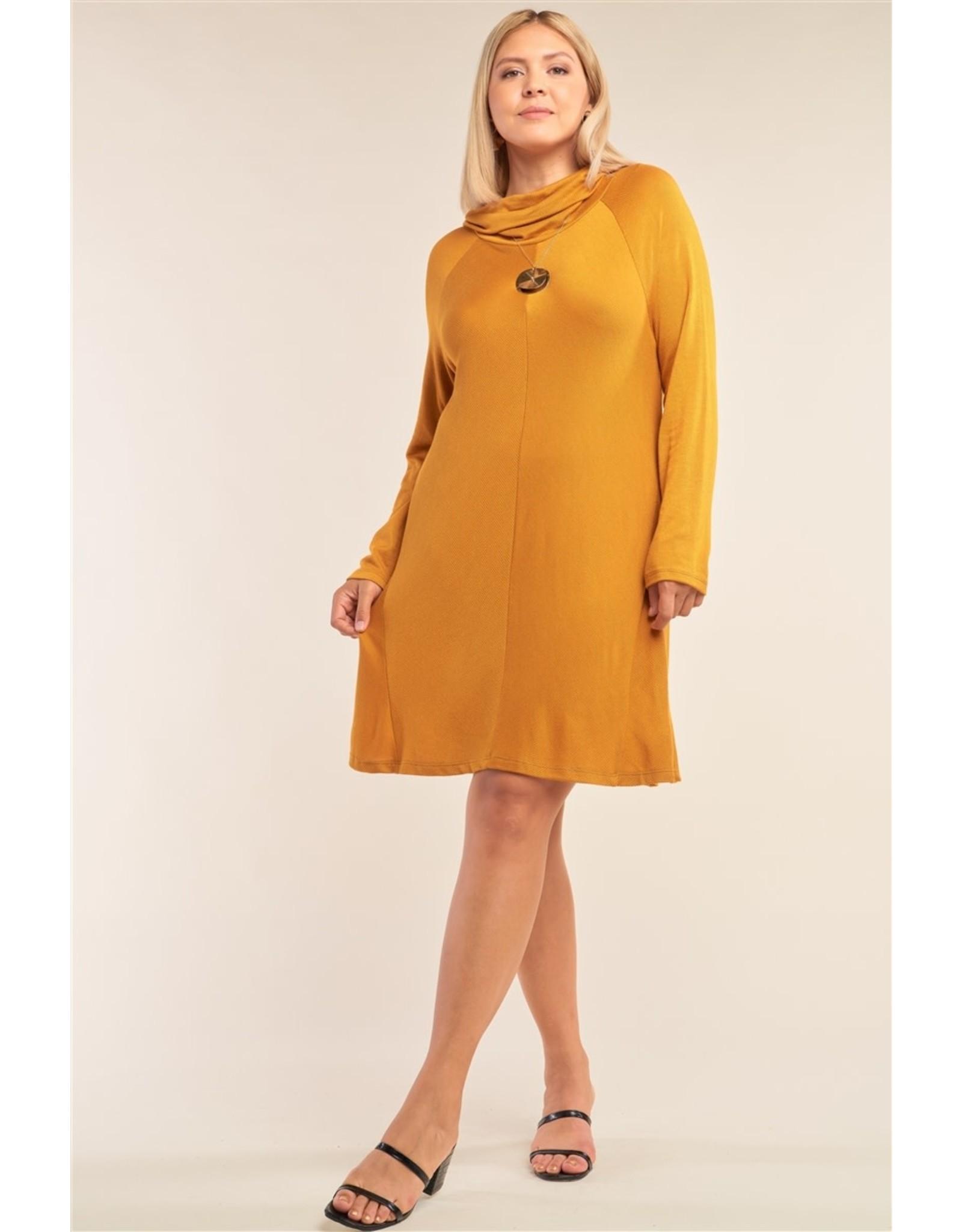 Loose Fit Long Sleeve Semi-Turtle Tunic Mini Dress
