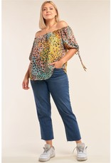 Relaxed Rainbow Leopard Print Off-the-Shoulder Top