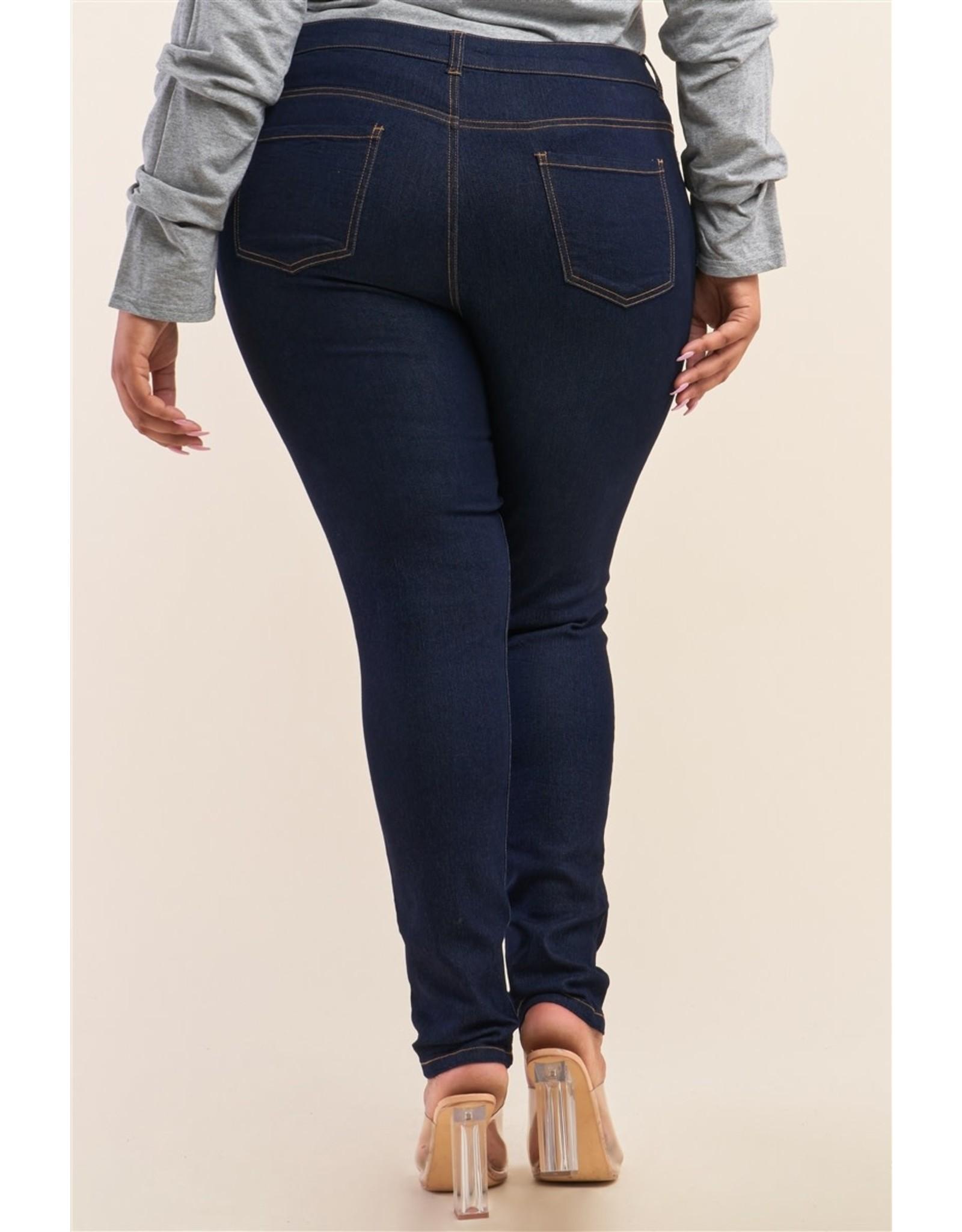 Dark Blue Low-Mid Rise Straight Cut Denim Pants