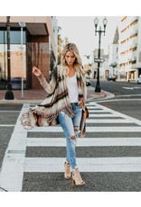 Striped Fringed Cardigan