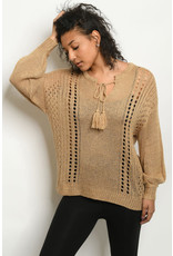 L love Keyhole Tie Neck Knit Sweater