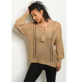 Keyhole Tie Neck Knit Sweater