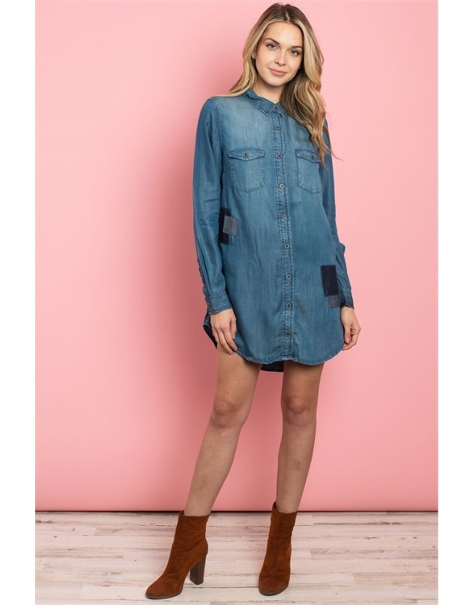 Denim Tunic Top with Patch Detail