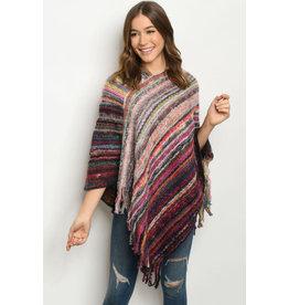 Tassel Hem Poncho Sweater