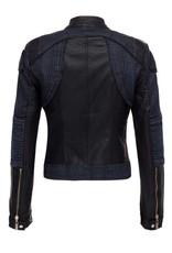 Denim and Faux Leather Biker Jacket