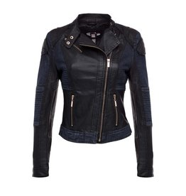 Denim and Faux Leather Biker Jacket