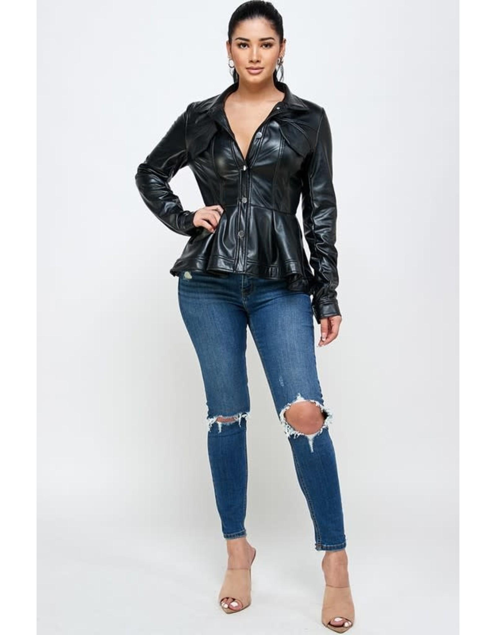 Faux Leather Stretch Jacket