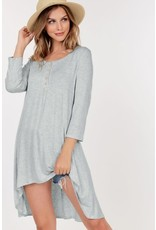3/4 Sleeve High Low Tunic Top