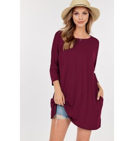 3/4 Quarter Sleeve Tunic with Pockets