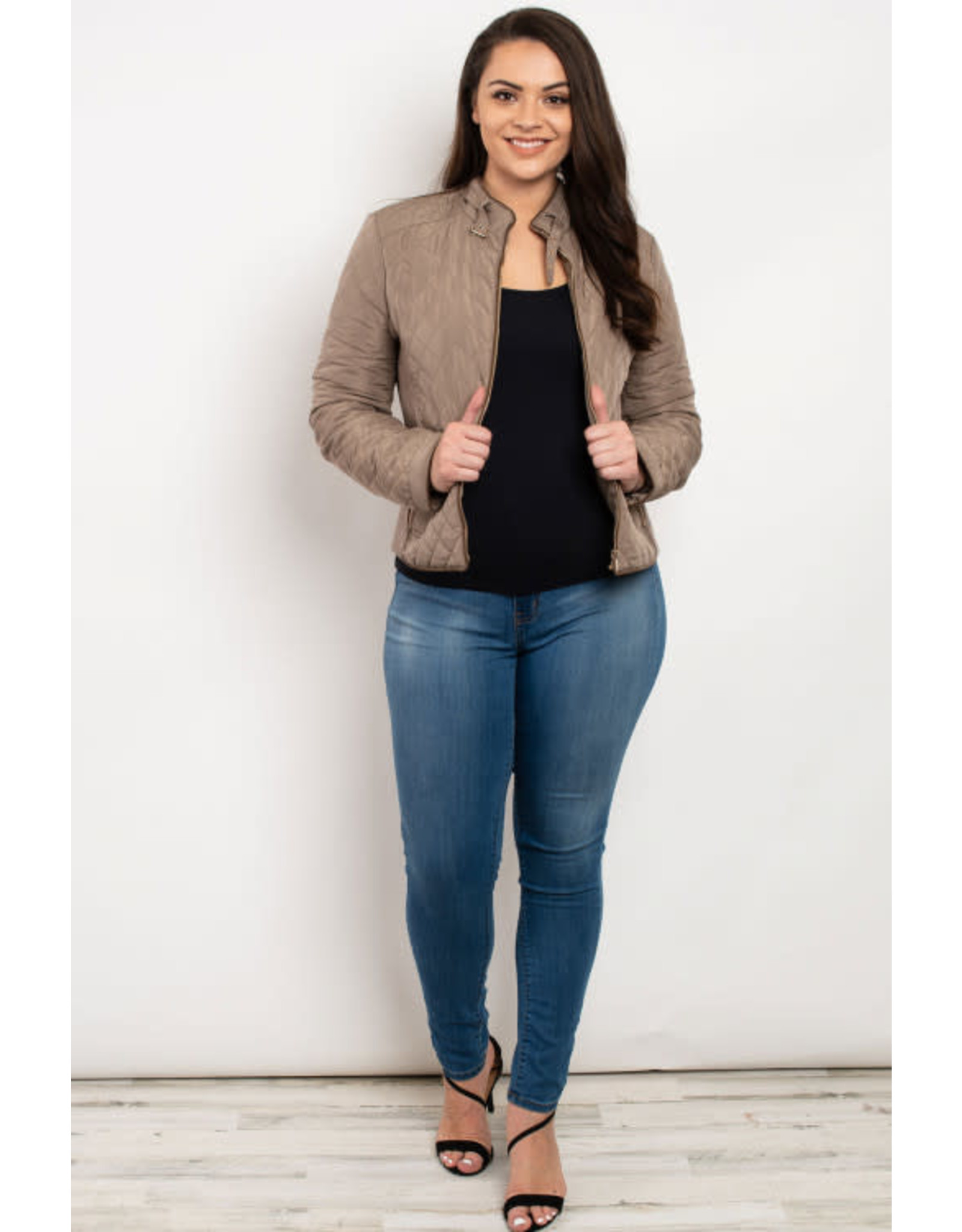 C'est Toi Quilted Khaki Jacket with Mock Neck