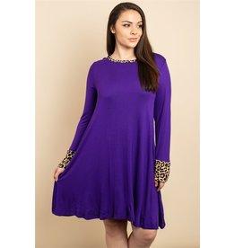 Purple Animal Print Plus Size Dress