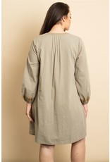 OLIVE EMBROIDERY DRESS