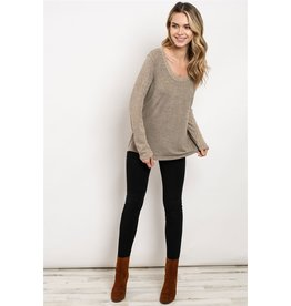 Very J Ribbed sleeve scoop neck two-tone tunic top