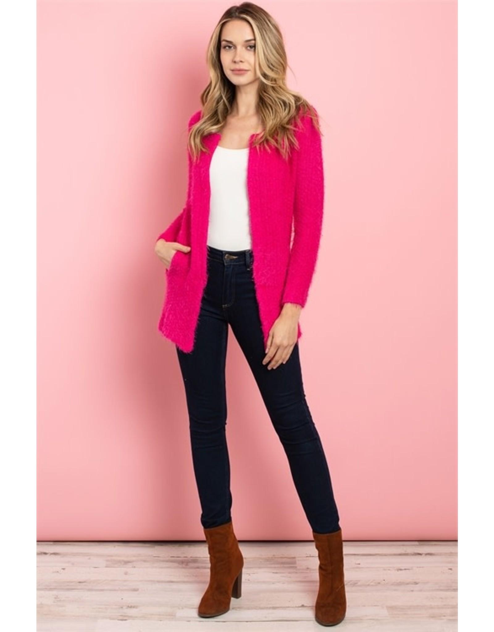 Identity Long Sleeve Fuchsia Cardigan with Pockets