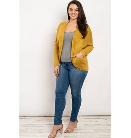 Long sleeve open front round hem cashmere cardigan