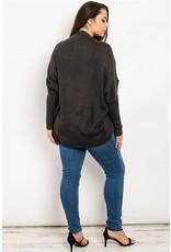 L love Long sleeve open front round hem cashmere cardigan
