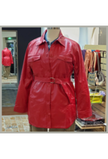 Black Label Red Faux Leather PU Belted  Long Jacket