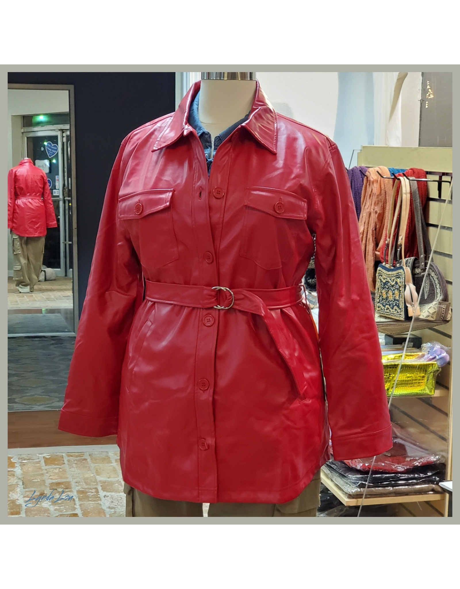 Red Faux Leather PU Belted  Long Jacket
