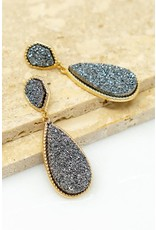 "Size: 0.75""X 2.25"" Geo Shape Druzy Earrings  - Color: Gold"