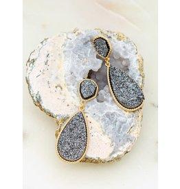 """Size: 0.75""""X 2.25"""" Geo Shape Druzy Earrings  - Color: Gold"""