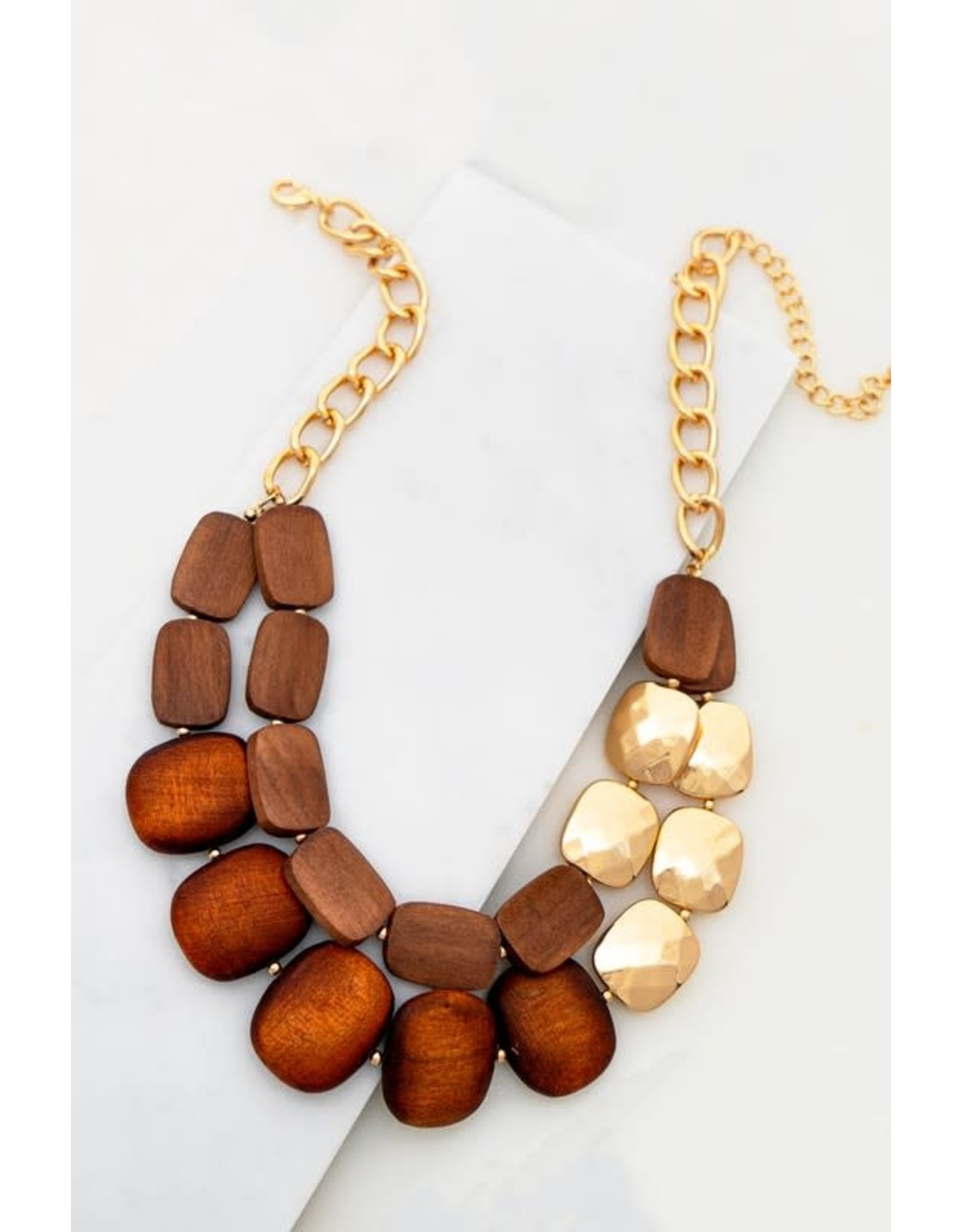 """Size: 18"""" + 3"""" Ext Wood Beads: 0.7 X 1.0"""" - 1.0"""" X 1.2"""" Two Row Faceted Wood Bead And Metal Bead Statement Necklace"""