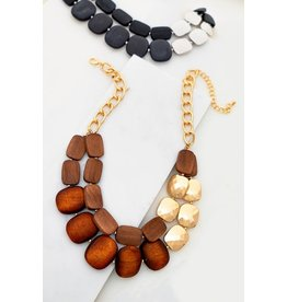 "Size: 18"" + 3"" Ext Wood Beads: 0.7 X 1.0"" - 1.0"" X 1.2"" Two Row Faceted Wood Bead And Metal Bead Statement Necklace"