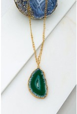 Natural Stone. Size And Color May Vary. Size + Fit Length: 30 In. 3 In. Ball Extension Decor: 2 In. Agate Slab With Double Chain Necklace