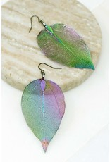 Looking For Something Unique? These Blue Tone Holographic Earrings Are To Die For! Size + Fit Length: 3.25 In. Real Leaf Hologram Earrings - Color: Hologram - Purple, Green, Gold, Blue