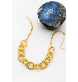 """Size 16"""" + 3""""Extension Chunky Oval Textured Chain Link Necklace - Color: Gold"""