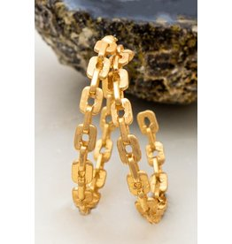 "Size 2.0"" Chunky Chain Casting Hoop Earrings In Worn Gold And Worn Silver Finish"