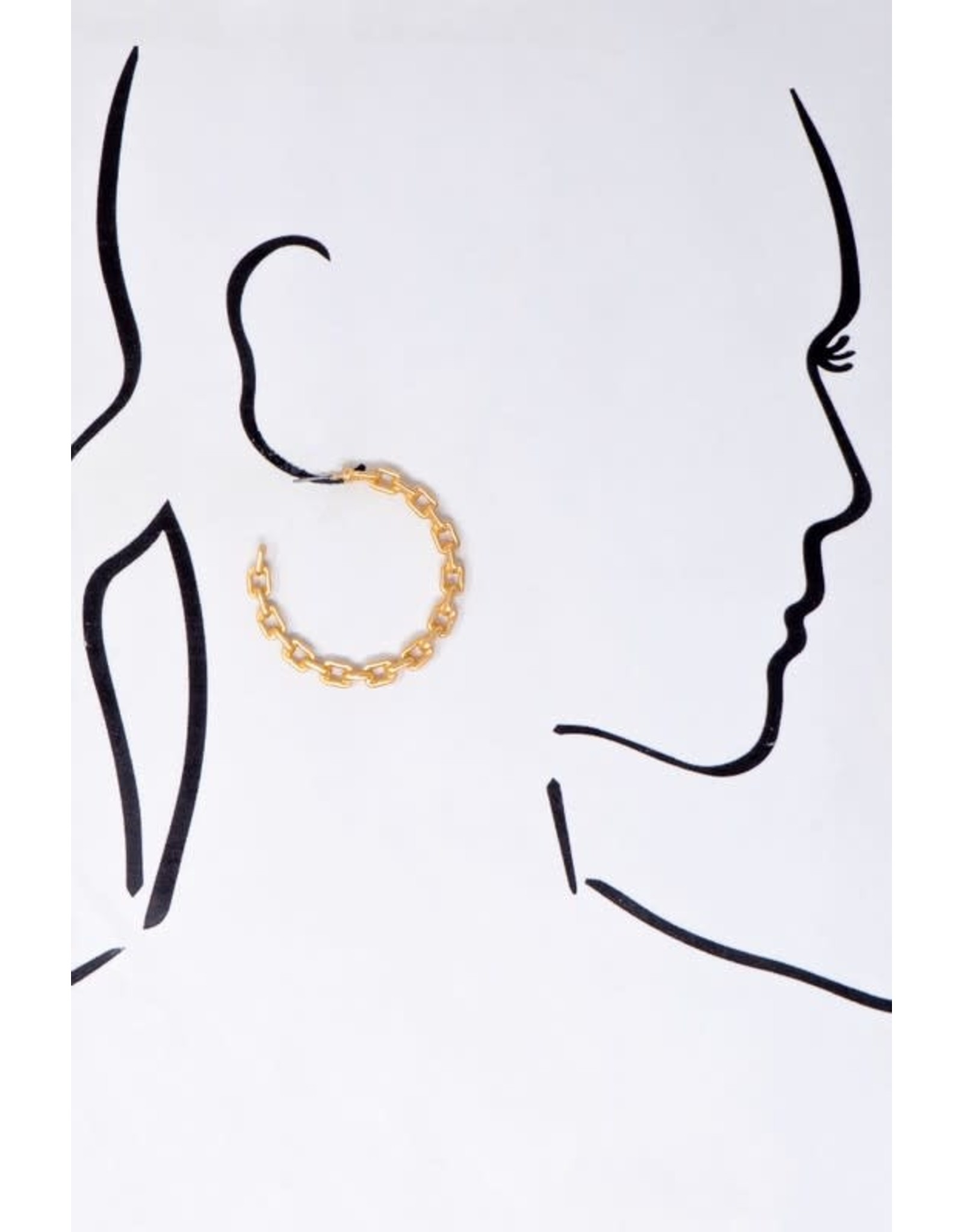 """Size 2.0"""" Chunky Chain Casting Hoop Earrings In Worn Gold And Worn Silver Finish"""
