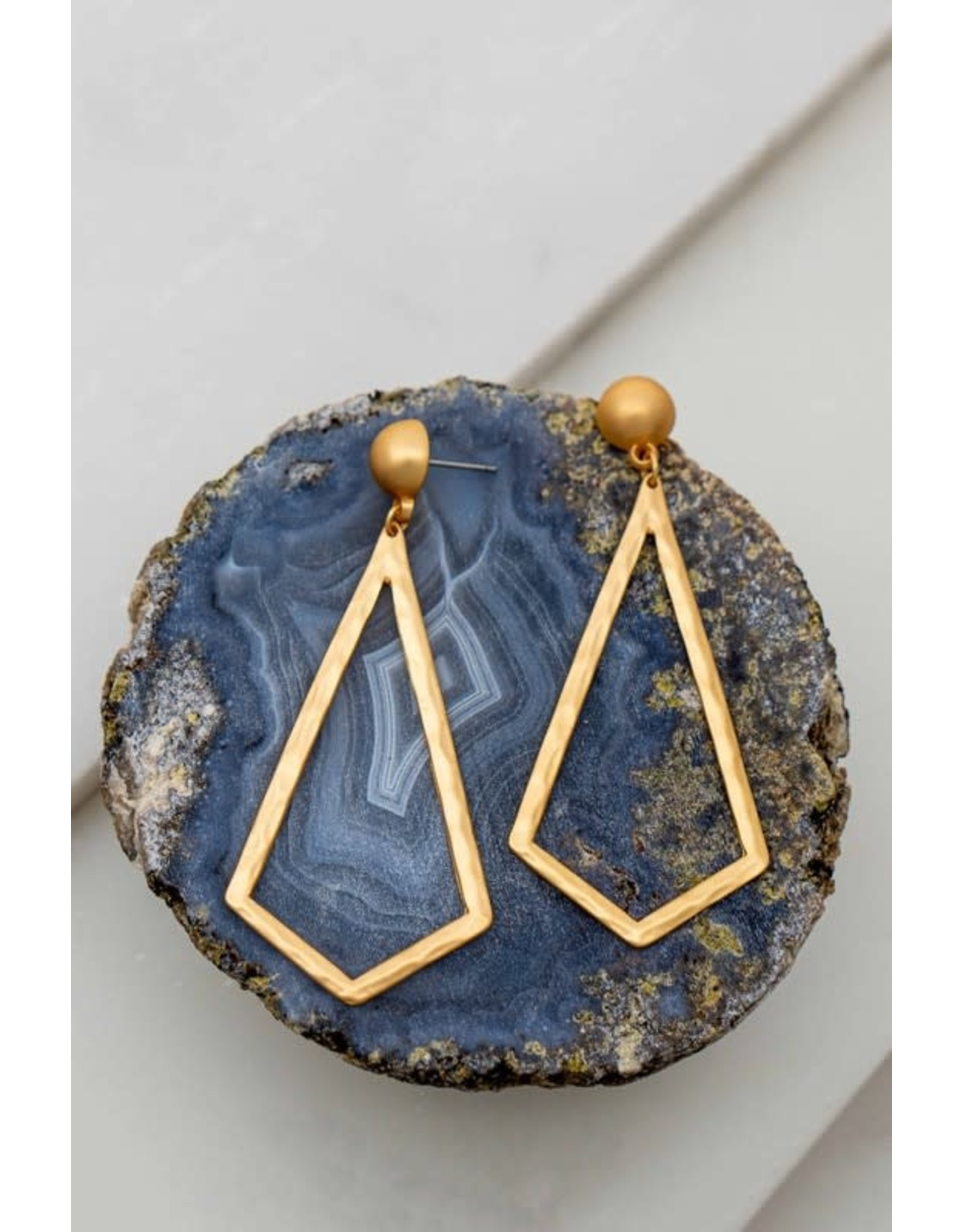 A Hammered Geometric Cut Out Earring That Is Sure To Compliment Any Outfit. Size + Fit Length: 3 In. Hammered Triangle Metal Hoop Earrings