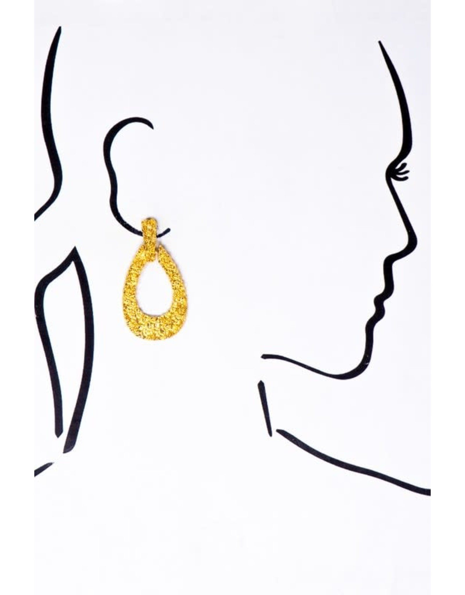 """Made Of Alloy Casting. Size: 1"""" X 2.0"""" Alloy Casting Textured Door Knocker Earrings In Gold Finish - Color: Gold"""