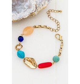 "Size: 8"" + 3"" Extension Distressed Gold Natural Stone Bracelet - Color: Blue Lapis, Red Jasper, Turquoise, Rose Quartz"