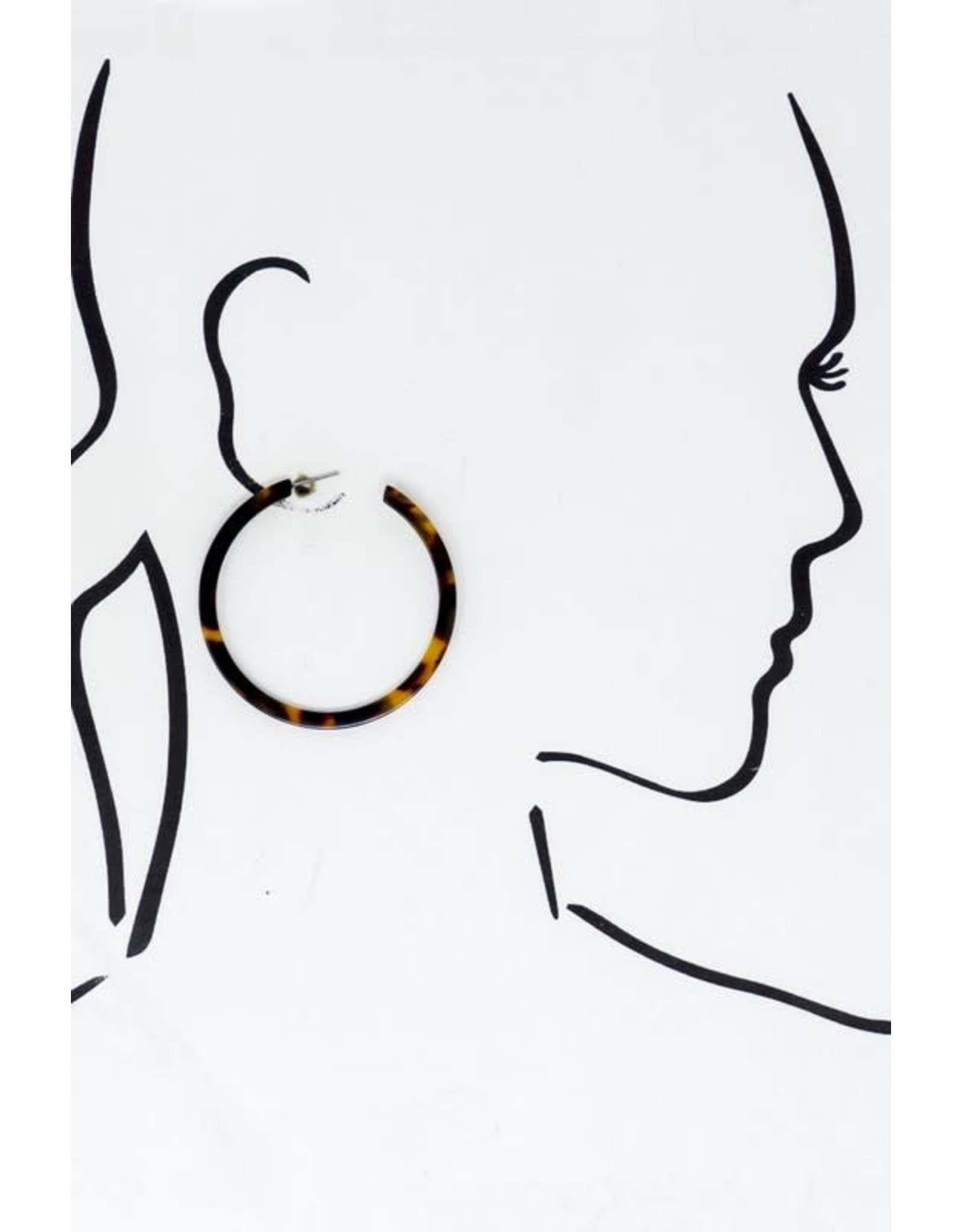 """Size 2.25"""" Thin Flat Amber Color Tortoise Hoop - Color: Tortoise"""
