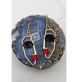 """Size: 0.75"""" X 2.5"""" Abstract Face Casting Earrings"""