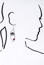 "Size: 0.75"" X 2.5"" Abstract Face Casting Earrings"