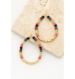 "Size: 1.5"" X 2.5"" Multi Color Wood And Metal Beaded Teardrop Hoop Earrings - Color: Gold"