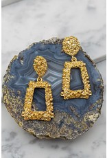 "Size: 1.5"" X 2.5"" Geo Shape Gold Nugget Casting Dangling Earrings"