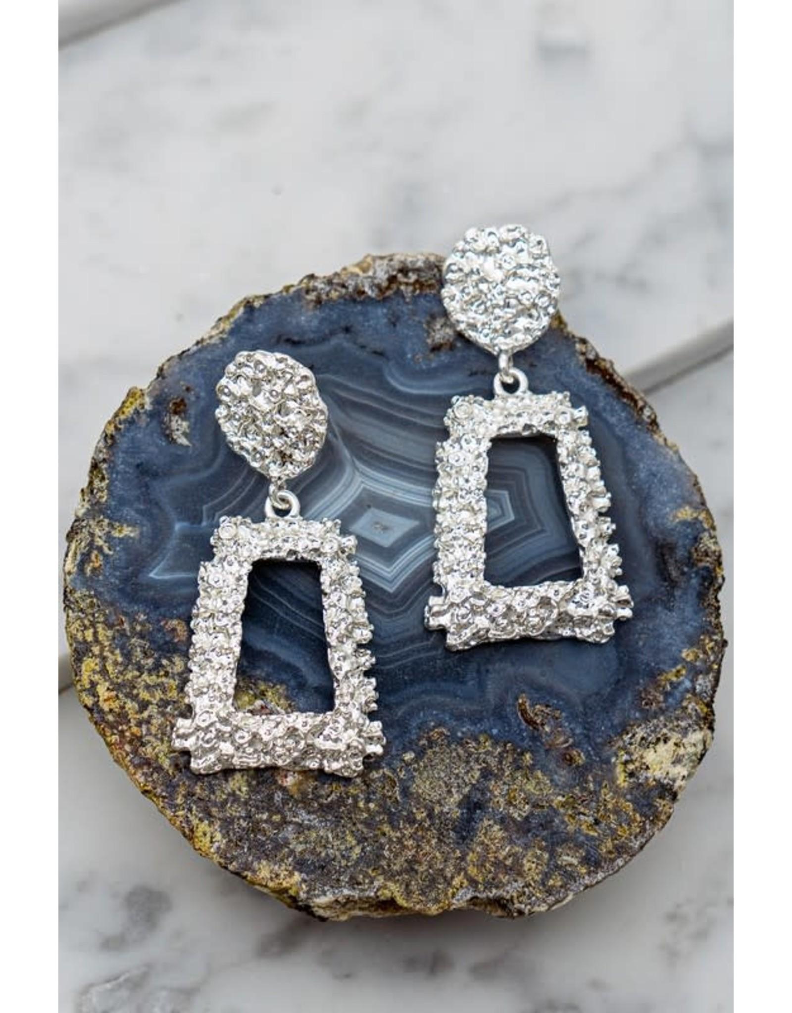 "Size: 1.5"" X 2.5"" Geo Shape Gold Nugget Casting Dangling Earrings"