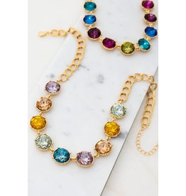 "Accentuate Your Ensemble With This Gemstone Station Necklace Fashioned With Resin Stones And A Goldtone Finish For An Eye-Catching Look.  Size: 16"" Each Stone Is 5/8"" Multi Color Resin Gem Stone Necklace"