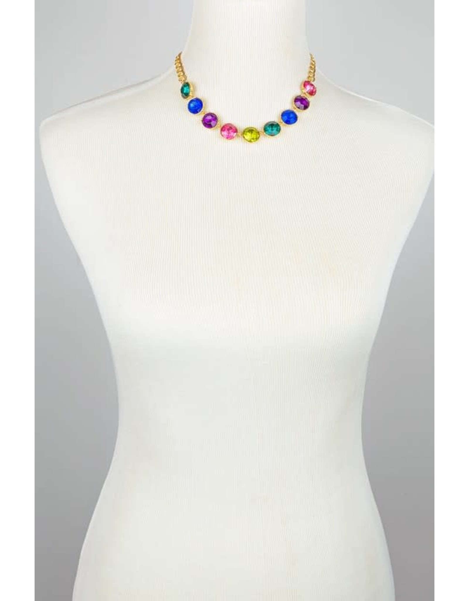 """Accentuate Your Ensemble With This Gemstone Station Necklace Fashioned With Resin Stones And A Goldtone Finish For An Eye-Catching Look.  Size: 16"""" Each Stone Is 5/8"""" Multi Color Resin Gem Stone Necklace"""