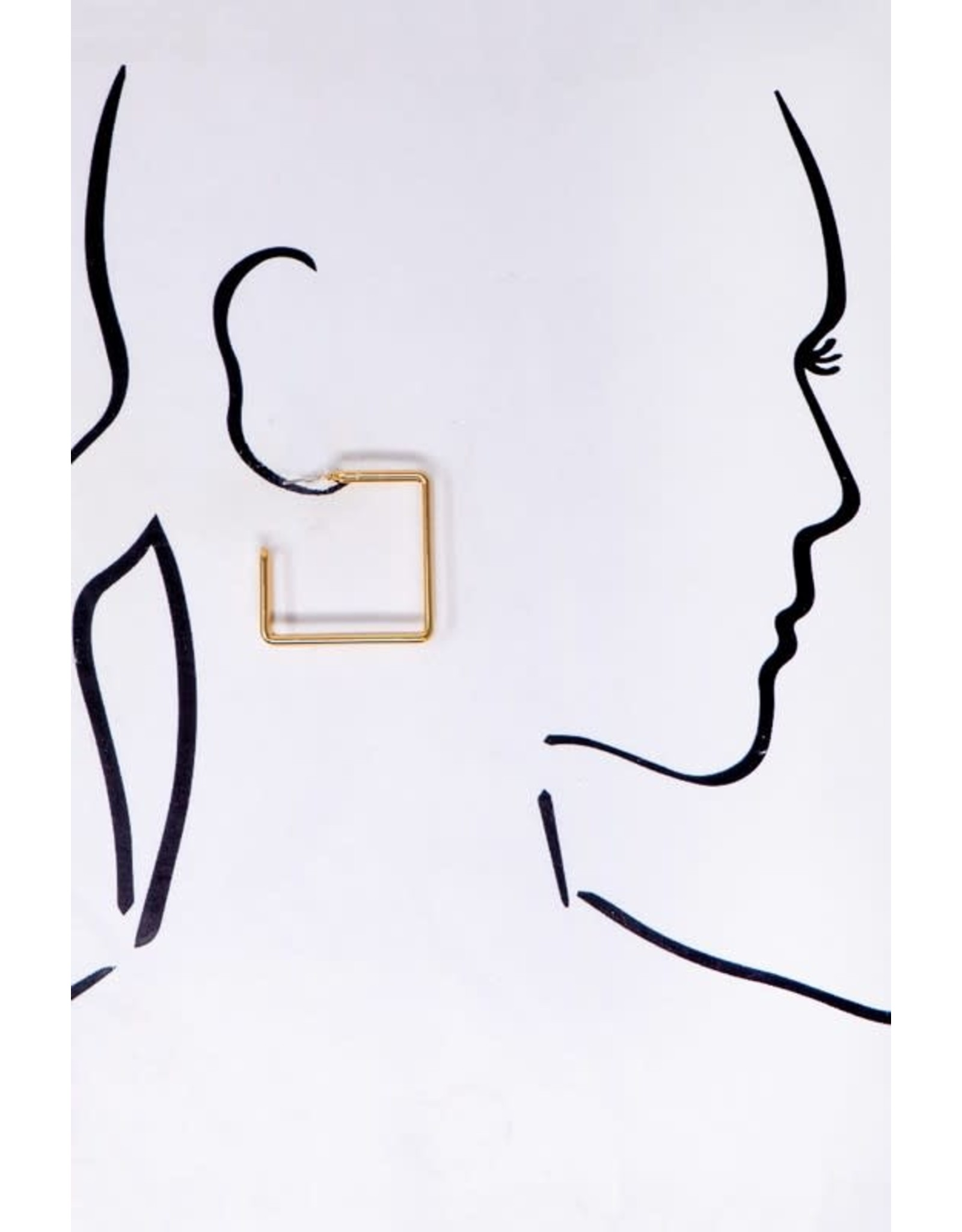 """Size: 1.5"""" Smooth And Shiny Double Layer Square Hoop Earrings. Made Of Metal Wire - Color: Gold"""