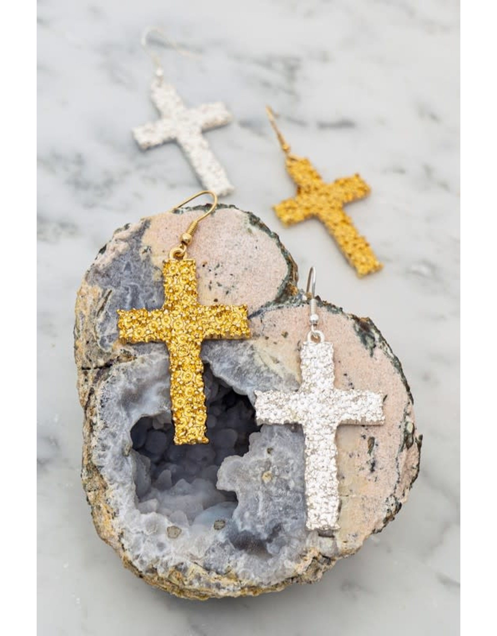 """Size: 1.25"""" X 2.5"""" Textured Casting Cross Earrings"""