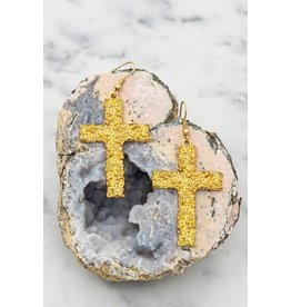 "Size: 1.25"" X 2.5"" Textured Casting Cross Earrings"