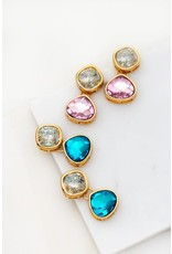 These Earrings Add The Perfect Pop Of Color. Size + Fit Length: 1.5 In. Geo Square and Tear Drop Shaped Stone Earrings