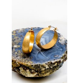 "Made Of Alloy Casting. Size: 1.0"" Smooth And Polished Small Wide Hoop Earrings - Color: Gold"