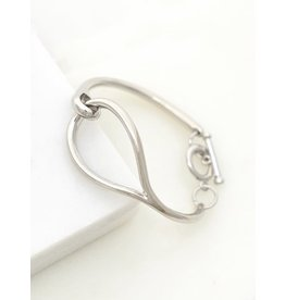 """Made Of Alloy Casting. Shiny Gold And Rhodium Plating. Size: One Size Fits All. Teardrop Hoop Is About 1.0"""" X 1.5"""" Smooth And Shiny Teardrop Hoop Linked Toggle Bracelet"""